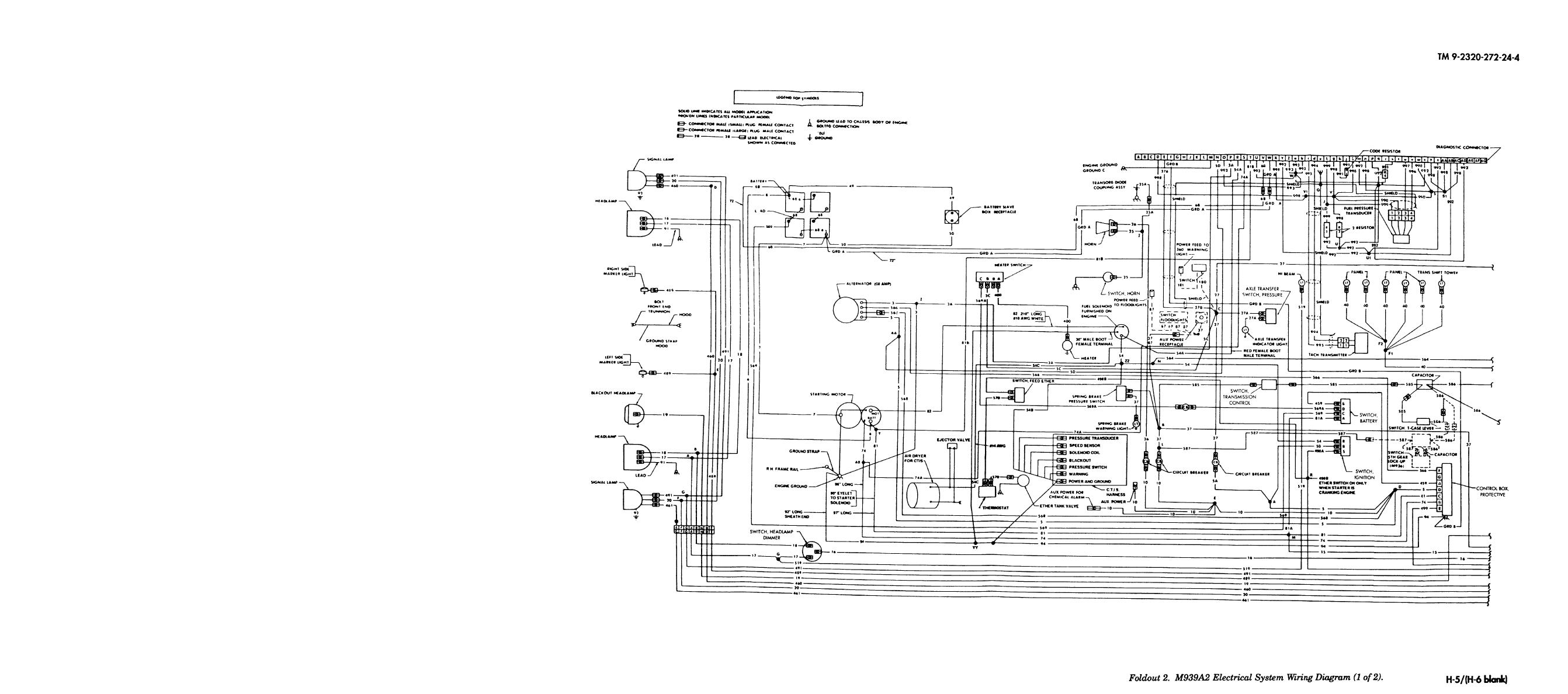 Foldout 2  M939a2 Electrical System Wiring Diagram  1 Of 2
