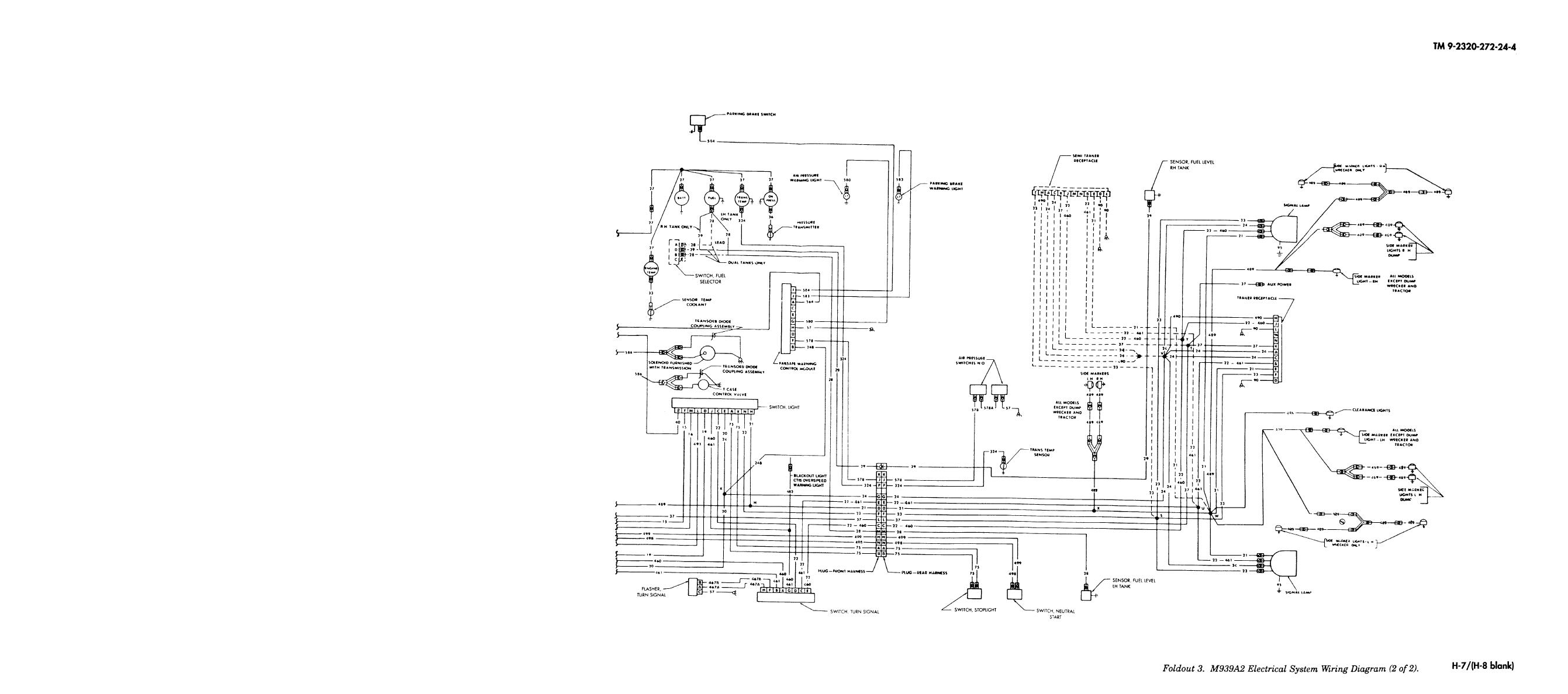 foldout 3  m939a2 electrical system wiring diagram  2 of 2